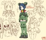 1girl absurdres aries_(mobile_suit) armor black_hair brown_eyes collage dofn double_bun elbow_gloves gloves gundam gundam_wing headgear highres leo_(mobile_suit) mecha mecha_musume shield short_hair simple_background thigh-highs translation_request