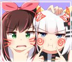 2girls :i a.i._channel absurdres agung_syaeful_anwar blue_eyes blush brown_hair cheek_poking closed_mouth commentary crossover green_eyes hair_ornament hair_ribbon hairclip hand_on_another's_head highres kaguya_luna kaguya_luna_(character) kizuna_ai long_hair looking_at_viewer multicolored_hair multiple_girls parted_lips pink_hair pink_ribbon poking ribbon silver_hair streaked_hair upper_teeth v-shaped_eyebrows virtual_youtuber whisker_markings