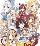 >_< 6+girls :d :o animal_ears animal_hood apron arm_up bangs basket beige_dress beige_hat beret black_bow blonde_hair blue_bow blue_dress blue_eyes blue_flower blue_hair blue_hairband blue_ribbon blue_shirt blush book bow braid brown_eyes brown_hair bunny_hood capelet cat_ears cat_hood closed_eyes closed_mouth collarbone collared_shirt commentary_request crescent crescent_hair_ornament curled_horns dress elbow_rest eyebrows_visible_through_hair eyes_visible_through_hair flower frilled_apron frills gloves green_eyes hair_between_eyes hair_bow hair_flower hair_ornament hair_over_one_eye hairband hand_to_own_mouth hat highres holding holding_basket hood hood_up hooded_capelet horns japanese_clothes jewelry kimono light_brown_hair long_hair looking_at_viewer minigirl multiple_girls necklace off-shoulder_dress off_shoulder open_book open_mouth original own_hands_together parted_lips pearl_necklace pink_skirt pocket_watch puffy_short_sleeves puffy_sleeves rabbit_ears red_capelet red_footwear red_kimono red_ribbon ribbon sakura_oriko shirt short_hair short_sleeves silver_hair simple_background single_braid skirt sleeveless sleeveless_dress sleeves_past_fingers sleeves_past_wrists smile striped striped_legwear thigh-highs tiara twin_braids vertical-striped_legwear vertical_stripes very_long_hair watch white_apron white_flower white_gloves white_shirt wide_sleeves xd yellow_bow yellow_skirt