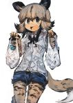1girl absurdres african_wild_dog_(kemono_friends) african_wild_dog_print animal_ears bag bow bowtie brown_hair commentary_request cowboy_shot denim denim_shorts dog_ears dog_tail eyebrows_visible_through_hair fang highres kaamin_(mariarose753) kemono_friends light_brown_hair multicolored_hair open_mouth pantyhose shopping_bag short_hair shorts solo tail