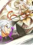 1boy 1girl absurdres add_(elsword) animal_ears ara_han asura_(elsword) black_sclera diabolic_esper_(elsword) elsword eun_(elsword) facial_mark fox_ears highres long_hair servati silver_hair tagme vs