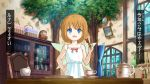 1girl bangs bare_arms basket bell birijian blue_eyes blush bottle bow brown_hair chair cup dart daruma_doll eyebrows_visible_through_hair fairy_wings fang frying_pan hand_on_hip holding indoors open_mouth red_bow saucer short_hair solo sunny_milk teacup teapot touhou translation_request tree v-shaped_eyebrows window wings