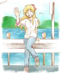 1girl blonde_hair casual chrono_cross commentary_request kid_(chrono_cross) long_hair smile sobagaki_shinyo solo