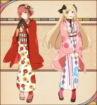 2girls alternate_hairstyle aym_(ash3ash3ash) blonde_hair elise_(fire_emblem_if) fire_emblem fire_emblem_if full_body gloves headband japanese_clothes kimono long_hair looking_at_viewer multiple_girls open_mouth red_eyes redhead sakura_(fire_emblem_if) short_hair simple_background smile violet_eyes