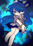 1girl bangle bare_legs barefoot blue_bow blue_eyes blue_hair blue_skirt bow bracelet bug butterfly collarbone expressionless eyebrows_visible_through_hair grey_hoodie hair_bow harunori_(hrnrx) hood hoodie insect jewelry long_hair short_sleeves skirt solo touhou yorigami_shion