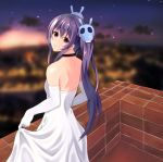 1girl backless_outfit balcony bare_shoulders black_choker blurry blurry_background bridal_gauntlets choker dress hair_ornament kawahara_no_keidai long_hair looking_back memento_(sennen_sensou_aigis) open-back_dress outdoors ponytail purple_hair sennen_sensou_aigis sidelocks skirt_hold skull_hair_ornament solo standing violet_eyes wedding_dress white_dress
