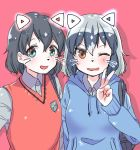 2girls alternate_costume animal_ears aotan_(aorin114) black_hair cat_ears collared_shirt commentary_request common_raccoon_(kemono_friends) eyebrows_visible_through_hair fang grey_hair hood hoodie kaban_(kemono_friends) kemono_friends multicolored_hair multiple_girls one_eye_closed shirt short_hair v vest whiskers