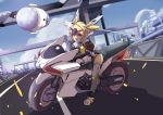 absurdres android blonde_hair city gloves ground_vehicle hair_ornament hammer highres loli mecha_musume motor_vehicle motorcycle original road robot street sudhiro twintails weapon white_gloves yellow_eyes
