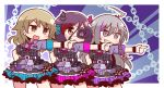 3girls :d bangs belt belt_buckle black_eyepatch blue_skirt bow braid brown_eyes buckle buttons chains closed_mouth collared_shirt cowboy_shot dress_shirt earrings eyepatch fake_horns grey_eyes grey_hair grin hair_between_eyes hayasaka_mirei horns hoshi_shouko idol idolmaster idolmaster_cinderella_girls idolmaster_cinderella_girls_starlight_stage index_finger_raised individuals jewelry legs_apart light_brown_hair long_hair miniskirt morikubo_nono multicolored_hair multiple_girls naga_u necktie open_mouth outline pink_bow pink_neckwear pink_skirt plaid pleated_skirt purple_belt purple_hair purple_shirt redhead shirt short_sleeves side_braid single_braid skirt smile streaked_hair two-tone_hair v-shaped_eyebrows white_outline wristband