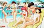 6+boys 6+girls 90s arm_up arms_behind_back azalyn barefoot beach_chair beard blue_swimsuit breasts brown_eyes brown_hair cleavage closed_eyes collarbone day earrings emi_hanner facial_hair floral_print food halter_top halterneck hand_behind_head harold_katori heel_raised hidezaburo_kitaguchi holding holding_food holding_tray jewelry justy_ueki_tylor karl_bjorn_anderson kim_kyung_hwa kojiro_sakai long_hair looking_back lying meditation medium_breasts mickey_cryborn multicolored multicolored_clothes multicolored_swimsuit multiple_boys multiple_girls musekinin_kanchou_tylor navel official_art on_back one-piece_swimsuit one_side_up open_mouth outdoors palm_tree parfait pink_swimsuit pool red_swimsuit redhead round_eyewear short_hair sitting standing strapless strapless_swimsuit swimming swimsuit tray tree wading white_swimsuit yamamoto_makoto yumi_hanner yuriko_star