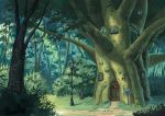 birijian bush calligraphy_brush_(medium) commentary_request day door graphite_(medium) grass lamp lamppost mailbox_(incoming_mail) nature no_humans outdoors scenery touhou traditional_media tree treehouse window