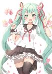 1girl bangs black_legwear black_sailor_collar black_skirt blush breasts brown_footwear canape_(canape0130) commentary_request eyebrows_visible_through_hair flower frilled_skirt frills green_eyes green_hair hair_between_eyes hair_flower hair_ornament hair_ribbon hand_up hatsune_miku heart loafers long_hair petals pink_flower pleated_skirt puffy_short_sleeves puffy_sleeves red_ribbon ribbon sailor_collar school_uniform serafuku shirt shoes short_sleeves simple_background single_wrist_cuff skirt small_breasts solo standing standing_on_one_leg thigh-highs twintails very_long_hair vocaloid white_background white_shirt