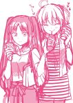 2girls ahoge alternate_costume bangs blush casual cellphone closed_eyes commentary_request cup drinking drinking_straw fate/grand_order fate_(series) fujimaru_ritsuka_(female) heart highres holding holding_cellphone holding_phone jewelry long_hair minnmibouya monochrome multiple_girls necklace phone sketch stheno striped twintails very_long_hair watch watch white_background