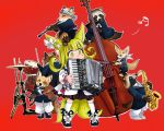 1girl accordion animal animal_ears black_dress black_footwear blonde_hair bow clarinet commentary doitsuken dress drum drumsticks fox fox_child_(doitsuken) fox_ears fox_tail head_scarf instrument multiple_tails music musical_note one_eye_closed original pants playing_instrument raccoon red_background saxophone shoe_bow shoes simple_background tail tanuki white_bow white_footwear white_neckwear white_pants