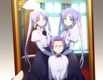 1boy 2girls alternate_costume black_neckwear blush bow bowtie cis05 closed_eyes commentary_request euryale fate/grand_order fate_(series) grin juliet_sleeves long_hair long_sleeves looking_at_viewer mephistopheles_(fate/grand_order) multiple_girls photo_(object) puffy_sleeves purple_hair short_hair siblings sisters smile stheno twins twintails very_long_hair violet_eyes window younger