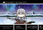 1girl chibi fate/grand_order fate_(series) gundam jeanne_d'arc_(fate)_(all) jeanne_d'arc_alter_santa_lily lowres miyubi_shigi mountain parody path polearm road sd_gundam sd_gundam_gaiden smile snow spear trading_card weapon