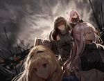 4girls ak-12_(girls_frontline) an-94_(girls_frontline) arm_guards armband assault_rifle bangs blonde_hair blue_eyes blurry blurry_background blurry_foreground braid breasts brown_eyes brown_hair cloak closed_eyes closed_mouth clothes_around_waist clouds cloudy_sky coat detached_sleeves digi-mind_update_(girls_frontline) eyebrows_visible_through_hair french_braid girls_frontline gloves gun hair_between_eyes hair_ornament hairband headphones holding holding_weapon jacket jacket_around_waist long_hair long_sleeves looking_at_viewer looking_away m4a1_(girls_frontline) medium_breasts multicolored_hair multiple_girls pink_hair ponytail ribbed_sweater ribbon rifle scarf sidelocks silence_girl silver_hair sky smile st_ar-15_(girls_frontline) streaked_hair sweater sweater_vest tactical_clothes thigh-highs very_long_hair weapon