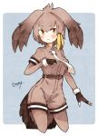 1girl absurdres bird_tail bird_wings blonde_hair blush collared_shirt commentary_request cowboy_shot elbow_gloves enk_0822 eyebrows_visible_through_hair fingerless_gloves gloves grey_hair hair_tie head_wings highres kemono_friends multicolored_hair necktie pantyhose shirt shoebill_(kemono_friends) short_hair shorts solo t-shirt wings