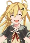 1girl ^_^ ^o^ abukuma_(kantai_collection) anger_vein bangs black_gloves black_jacket blonde_hair buttons closed_eyes double_bun gloves hair_between_eyes hair_rings hinase_(jet_hearts) jacket kantai_collection long_hair looking_at_viewer neck_ribbon open_mouth partly_fingerless_gloves red_ribbon remodel_(kantai_collection) ribbon school_uniform serafuku short_sleeves smile solo twintails upper_body