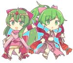 2girls anklet artist_request barefoot blush bow bracelet breasts cape chiki circlet cleavage dancer dress earrings fire_emblem fire_emblem:_monshou_no_nazo fire_emblem:_seisen_no_keifu fire_emblem_heroes green_eyes green_hair hair_bow hair_ornament jewelry leen_(fire_emblem) long_hair lowres mamkute multiple_girls pink_dress pink_legwear pointy_ears ponytail skirt smile tiara white_background