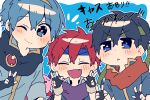 3boys absurdres blue_hair blush chibi fire_emblem fire_emblem:_fuuin_no_tsurugi fire_emblem:_monshou_no_nazo fire_emblem:_souen_no_kiseki gloves hairband highres ike looking_at_viewer male_focus marth multiple_boys redhead roy_(fire_emblem) short_hair simple_background super_smash_bros. tiara v