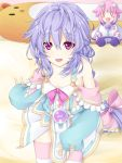 1girl braid character_doll flat_chest horizontal_stripes joney long_hair looking_at_viewer neptune_(choujigen_game_neptune) neptune_(series) open_mouth pink_eyes purple_hair pururut single_braid sitting smile solo striped thigh-highs