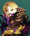 1girl ;o aqua_background bangs bare_shoulders braid briar_rose_(sinoalice) brown_shirt crown_braid empty_eyes eyebrows eyelashes highres holding light_brown_hair long_hair long_sleeves off-shoulder_shirt one_eye_closed open_mouth plant shirt single_braid sinoalice skirt solo thorns tongue vines yellow_eyes yellow_skirt yukino_super