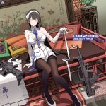 1girl arm_support assault_rifle bangs between_breasts black_hair black_legwear blue_neckwear blush breasts bullpup cape cape_removed character_name circle_a cleavage closed_mouth explosive eyebrows_visible_through_hair fingerless_gloves flower girls_frontline gloves grenade grenade_launcher gun hair_flower hair_ornament hairband head_tilt holding holding_ribbon indoors large_breasts long_hair looking_at_viewer necktie necktie_between_breasts pantyhose pumps qbz-95 qbz-95_(girls_frontline) ribbon rifle shirt sitting skirt smile solo thigh-highs very_long_hair weapon white_footwear white_gloves white_hairband white_ribbon white_shirt white_skirt wrist_straps yellow_eyes
