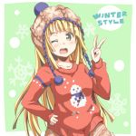 1girl bang_dream! bangs blonde_hair blush brown_hat collarbone english green_background hand_on_hip hat knit_hat long_sleeves looking_at_viewer one_eye_closed open_mouth pom_pom_(clothes) print_sweater red_sweater riai_(onsen) snowflake_background snowman_print solo sweater tsurumaki_kokoro v yellow_eyes