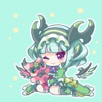 1girl ;3 astaroth_(p&d) black_bow blush bow cauchemar_(p&d) chibi closed_mouth commentary_request detached_wings dress green_background green_dress green_hair green_legwear hairband horns kneehighs looking_away one_eye_closed pentagram pikomarie puzzle_&_dragons short_hair sitting solo star stuffed_animal stuffed_toy violet_eyes wings