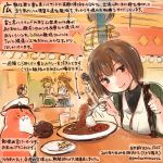 5girls animal black_hair brown_eyes brown_hair colored_pencil_(medium) commentary_request curry curry_rice dated food hamster haruna_(kantai_collection) hiei_(kantai_collection) holding holding_spoon hyuuga_(kantai_collection) kantai_collection kirisawa_juuzou kirishima_(kantai_collection) kongou_(kantai_collection) long_hair multiple_girls non-human_admiral_(kantai_collection) numbered revision rice short_hair smile spoon thumbs_up traditional_media translation_request twitter_username