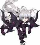 1girl ahoge all_fours animal_ears atalanta_(alter)_(fate) atalanta_(fate) beriko_(dotera_house) black_armor cat_ears cat_tail eyebrows_visible_through_hair fate/grand_order fate_(series) gauntlets greaves green_eyes highres long_hair pauldrons silver_hair simple_background slit_pupils tail very_long_hair white_background