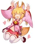 1girl animal_ears armpits arms_up bell blonde_hair closed_eyes detached_sleeves fox_ears fox_tail hair_ornament hairclip hakama_skirt heart japanese_clothes jingle_bell jumping kemomimi_oukoku_kokuei_housou legs_up long_hair miko mikoko_(kemomimi_oukoku_kokuei_housou) miniskirt navel open_clothes open_mouth open_shirt pink_shirt red_skirt ribbon rk_(rktorinegi) sandals shirt simple_background skirt smile solo tail thigh-highs twintails virtual_youtuber white_background white_legwear