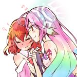 2girls artist_request bare_shoulders blush bow bowtie breasts bridal_gauntlets closed_eyes closed_mouth detached_collar dress gloves gradient_hair halo hand_holding jibril_(no_game_no_life) large_breasts long_hair magic_circle multicolored_hair multiple_girls no_game_no_life orange_eyes pink_hair redhead short_hair smile source_request stephanie_dora tattoo very_long_hair wavy_mouth wing_ears