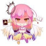 1girl angel_wings azriel_(no_game_no_life) blood blood_on_face book breasts chibi commentary_request crop_top cross evil_grin evil_smile feathered_wings gloves gradient_eyes gradient_hair gradient_wings grin halo jibril_(no_game_no_life) kana_(ky4696) large_breasts long_hair low_wings lowres magic_circle midriff mismatched_legwear multicolored multicolored_eyes multicolored_hair multicolored_wings navel no_game_no_life orange_eyes pink_hair shoes single_shoe smile symbol-shaped_pupils tablet_pc tattoo very_long_hair white_wings wing_ears wings yellow_eyes