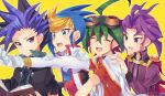 4boys ahoge antenna_hair black_hair black_jacket blonde_hair blue_eyes blue_hair book closed_eyes gloves goggles goggles_on_head green_hair holding holding_book jacket long_sleeves male_focus multicolored_hair multiple_boys open_book open_mouth purple_hair purple_jacket red_shirt redhead rento_(rukeai) sakaki_yuuya shirt short_sleeves smile star title torn_jacket violet_eyes white_gloves white_jacket yu-gi-oh! yuu-gi-ou_arc-v yuugo_(yuu-gi-ou_arc-v) yuuri_(yuu-gi-ou_arc-v) yuuto_(yuu-gi-ou_arc-v)