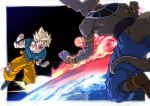 2boys back_turned beerus blonde_hair blue_pants blue_shirt boots bracelet clenched_hands dougi dragon_ball dragon_ball_super dragonball_z earrings earth flying full_body green_eyes jewelry male_focus multiple_boys pants planet shirt short_hair son_gokuu spiky_hair super_saiyan tail wristband