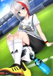 1girl 2018 2018_fifa_world_cup adidas admiral_graf_spee_(azur_lane) arm_support armband azur_lane ball bangs black_shorts blue_eyes blue_sky blush bottle breasts closed_mouth clouds commentary_request day dutch_angle eyebrows_visible_through_hair fingernails german_flag goal grass hand_on_own_knee highres kneehighs large_breasts leng_xiao looking_at_viewer mosaic multicolored_hair on_grass outdoors print_shirt redhead shirt shoes short_hair short_shorts short_sleeves shorts silver_hair sitting sky sneakers soccer soccer_ball soccer_field soccer_uniform solo sportswear stadium streaked_hair sweat sweatband telstar_18 thighs water_bottle white_legwear white_shirt world_cup yellow_footwear