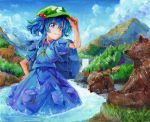 1girl backpack bag bear blue_backpack blue_eyes blue_hair blue_shirt blue_skirt blue_sky clouds cowboy_shot cub day flat_cap forest hair_between_eyes hair_bobbles hair_ornament hand_on_headwear hand_on_hip harikona hat kawashiro_nitori key looking_at_viewer mountain nature oil_painting_(medium) outdoors pocket puffy_short_sleeves puffy_sleeves river shirt short_hair short_sleeves skirt skirt_set sky smile solo standing touhou traditional_media two_side_up wading water waterfall