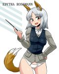 1girl animal_ears aono3 bangs black_vest brave_witches brown_eyes character_name commentary_request cowboy_shot crotch_seam dress_shirt edytha_rossmann eyebrows_visible_through_hair fox_ears fox_tail grey_jacket hand_on_hip head_tilt holding jacket looking_at_viewer military military_uniform no_pants open_mouth panties pointer shirt short_hair silver_hair simple_background smile solo standing tail underwear uniform vest white_background white_panties white_shirt wing_collar world_witches_series