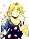 1boy automail black_shirt blonde_hair blurry edward_elric fullmetal_alchemist hands_up happy looking_at_viewer male_focus petals ponytail shirt simple_background sleeveless smile upper_body white_background yellow_eyes