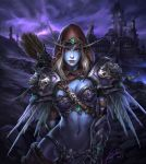 1girl arm_behind_back armor arrow bikini_armor blonde_hair blue_skin breasts cape castle cityscape cowboy_shot dated elf facial_mark gauntlets gem glowing glowing_eyes highres hood lipstick long_hair looking_at_viewer makeup navel nose outdoors pauldrons pointy_ears quiver realistic red_eyes signature solo standing sylvanas_windrunner tower warcraft weapon world_of_warcraft zhang_wenmo