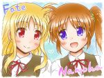 2girls blonde_hair blush brown_hair collared_shirt couple eye_contact fate_testarossa green_scrunchie happy heart long_hair looking_at_another lyrical_nanoha mahou_shoujo_lyrical_nanoha mahou_shoujo_lyrical_nanoha_a's multiple_girls neck_ribbon open_mouth red_eyes red_ribbon ribbon school_uniform scrunchie shinozuki_takumi shirt side_ponytail simplebackground smile takamachi_nanoha two-tone_background uniform very_long_hair violet_eyes white_shirt yuri