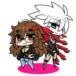 1boy 1girl :3 bag belt between_breasts black_bodysuit blue_eyes blue_pants blush bodysuit boots bow brown_eyes brown_hair chan_co character_request chibi closed_mouth commentary_request denim eyebrows_visible_through_hair eyeshadow fate/apocrypha fate_(series) hair_bow jeans karna_(fate) legs_apart long_hair looking_at_viewer makeup messy_hair pants red_bow shoulder_bag simple_background smile strap_cleavage white_background white_hair