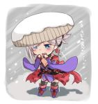 1girl absurdres black_legwear blue_eyes boots chibi fate/grand_order fate_(series) fuu_(fuore) hands_up hat highres japanese_clothes katana kimono long_sleeves miyamoto_musashi_(fate/grand_order) obi open_mouth outdoors pink_hair sash scabbard sheath short_hair snow snowing solo standing sword tears thigh-highs trembling weapon wide_sleeves