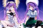 2girls bare_shoulders black_ribbon blush choker commentary dress dual_persona fate/grand_order fate_(series) frilled_skirt frills full_moon green_skirt hairband halo lolita_hairband long_hair looking_at_viewer moon multiple_girls nekoyamiyako open_mouth puffy_short_sleeves puffy_sleeves purple_hair ribbon shirt short_sleeves sitting skirt smile stheno strapless strapless_dress symmetry twintails very_long_hair violet_eyes white_dress white_shirt
