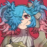 1girl absurdres armor bangs blue_hair bow closed_mouth eyebrows eyelashes fire_emblem fire_emblem_if gradient_hair grey_bow grey_hairband hair_over_one_eye hairband highres huge_filesize long_hair messy_hair multicolored_hair pieri_(fire_emblem_if) pink_hair red_background red_eyes reiesu_(reis) simple_background smile solo striped striped_bow turtleneck twintails two-tone_hair