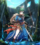1girl blue_dress breasts brown_footwear clouds collar dress earrings elbow_gloves fingerless_gloves fire_emblem fire_emblem:_rekka_no_ken fire_emblem_heroes fur fur_trim gloves green_eyes green_hair hair_tie haru_hikoya high_ponytail holding holding_sword holding_weapon hole in_water jewelry legs light_rays long_hair lyndis_(fire_emblem) medium_breasts moss outdoors pelvic_curtain plant ponytail ruins sash side_slit sky sunbeam sunlight sword thighs tied_hair tree vines water weapon wood