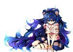 1girl baba_(baba_seimaijo) bangle barefoot blue_bow blue_eyes blue_hair blue_skirt bow bowl bracelet damaged debt hair_bow highres hood hood_down hoodie jewelry long_hair skirt solo stuffed_animal stuffed_cat stuffed_toy touhou white_background yorigami_shion