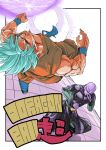2boys belt blue_eyes blue_hair blurry boots clenched_hand copyright_name dougi dragon_ball dragon_ball_super dragonball_z energy_ball face_punch fighting_stance flying full_body hit_(dragon_ball) in_the_face looking_at_another male_focus multiple_boys punching red_eyes serious short_hair sleeveless son_gokuu spiky_hair wristband